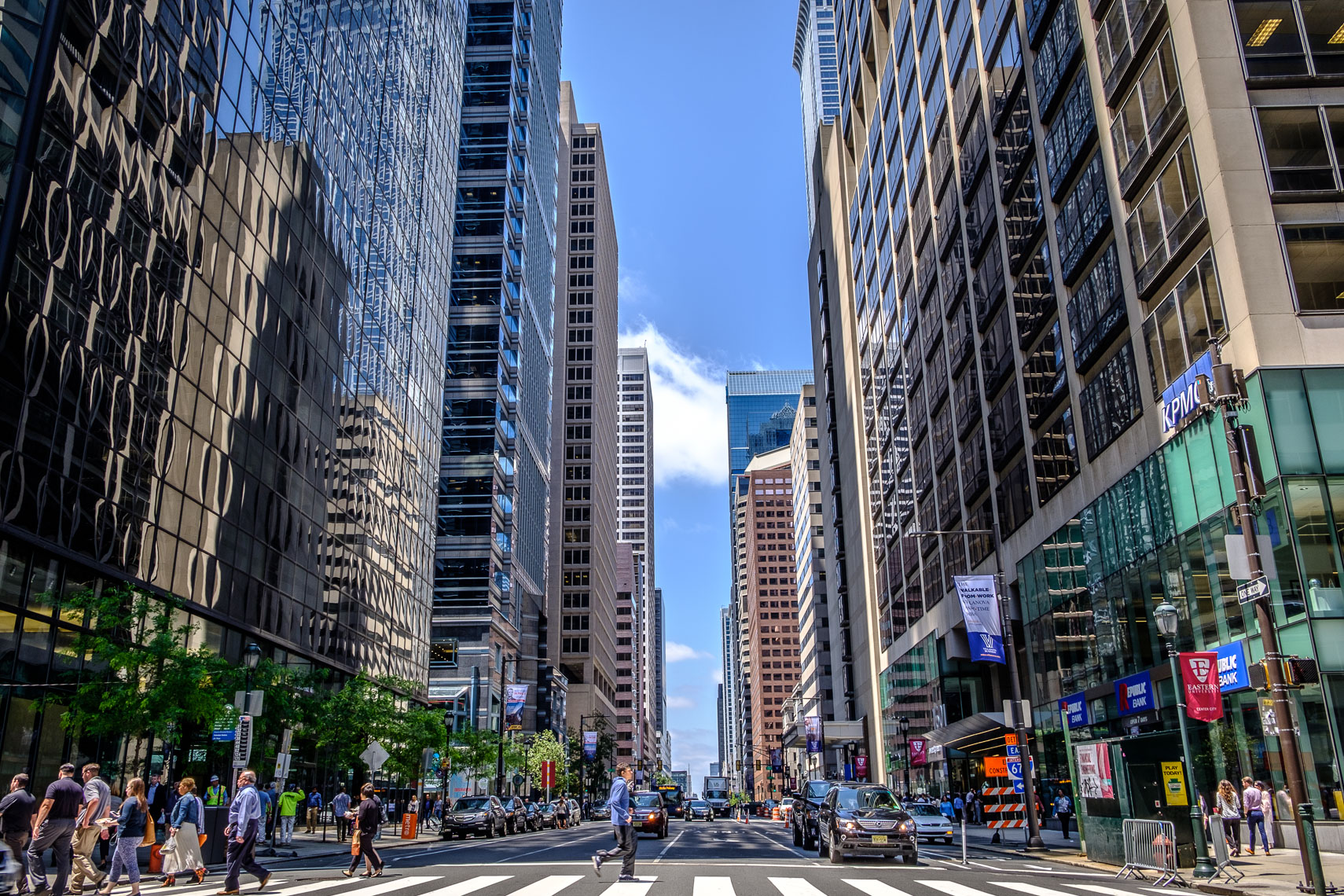 Downtown Philadelphia Street with People and Tall Buildings
