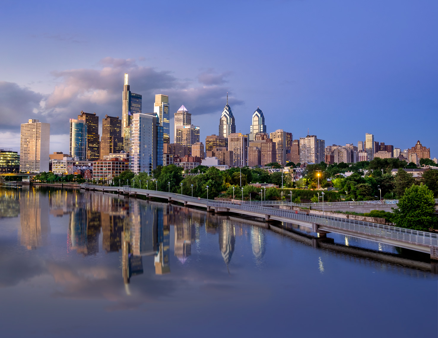 Philadelphia Skyline with Schuylkill River Park Boardwalk